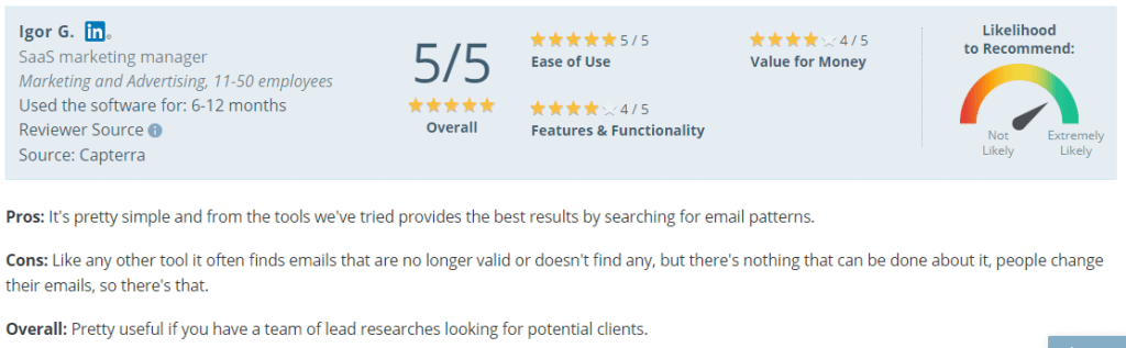 lead generation tools_ratings for Voila norbert